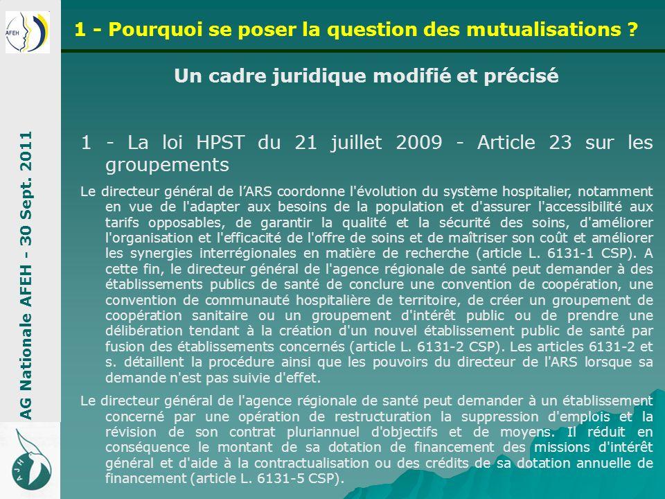 Un cadre juridique modifié et précisé 1 - La loi HPST du 21 juillet 2009 - Article 23 sur les groupements Le directeur général de lARS coordonne l'évo