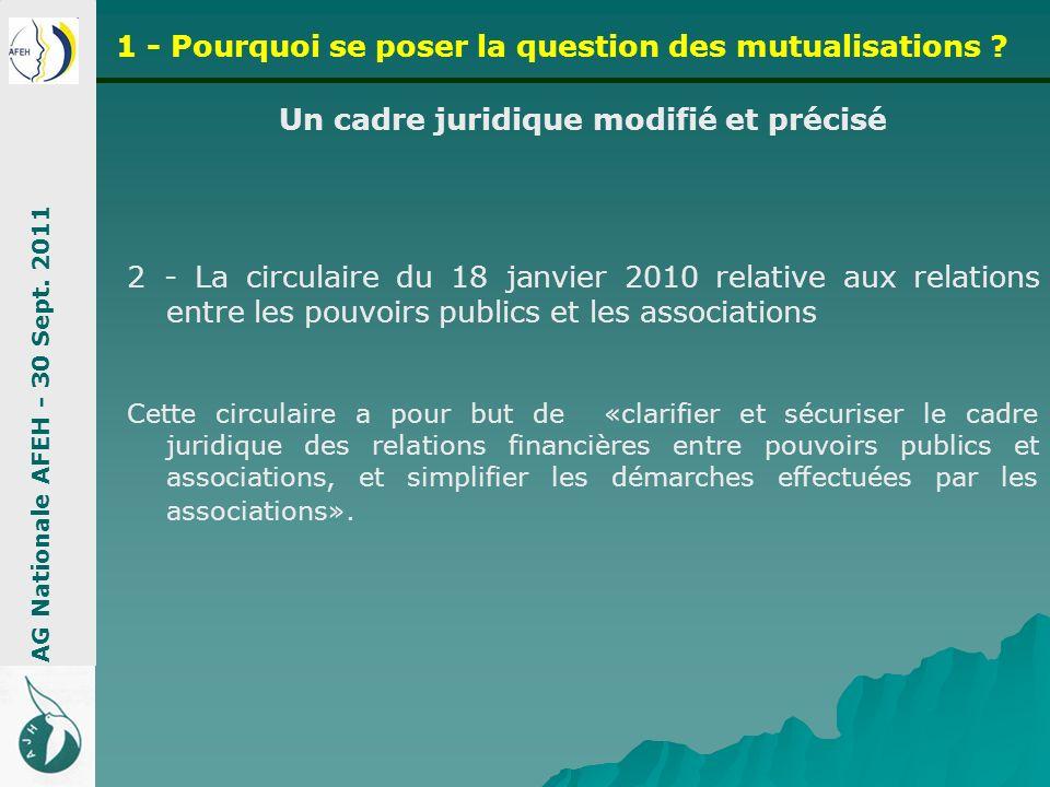Un cadre juridique modifié et précisé 2 - La circulaire du 18 janvier 2010 relative aux relations entre les pouvoirs publics et les associations Cette