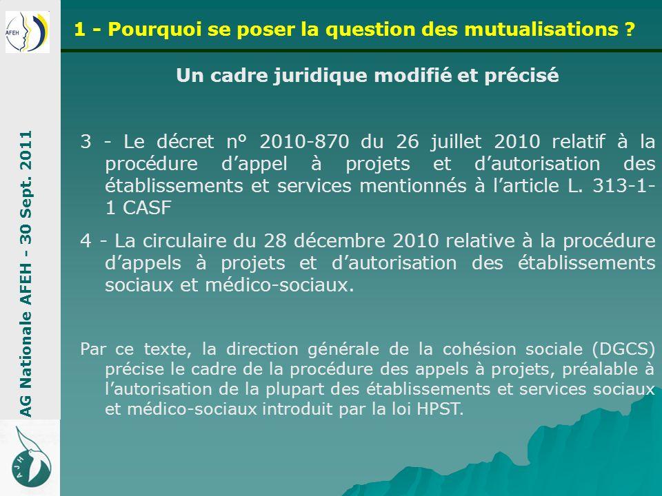 Un cadre juridique modifié et précisé 3 - Le décret n° 2010-870 du 26 juillet 2010 relatif à la procédure dappel à projets et dautorisation des établi