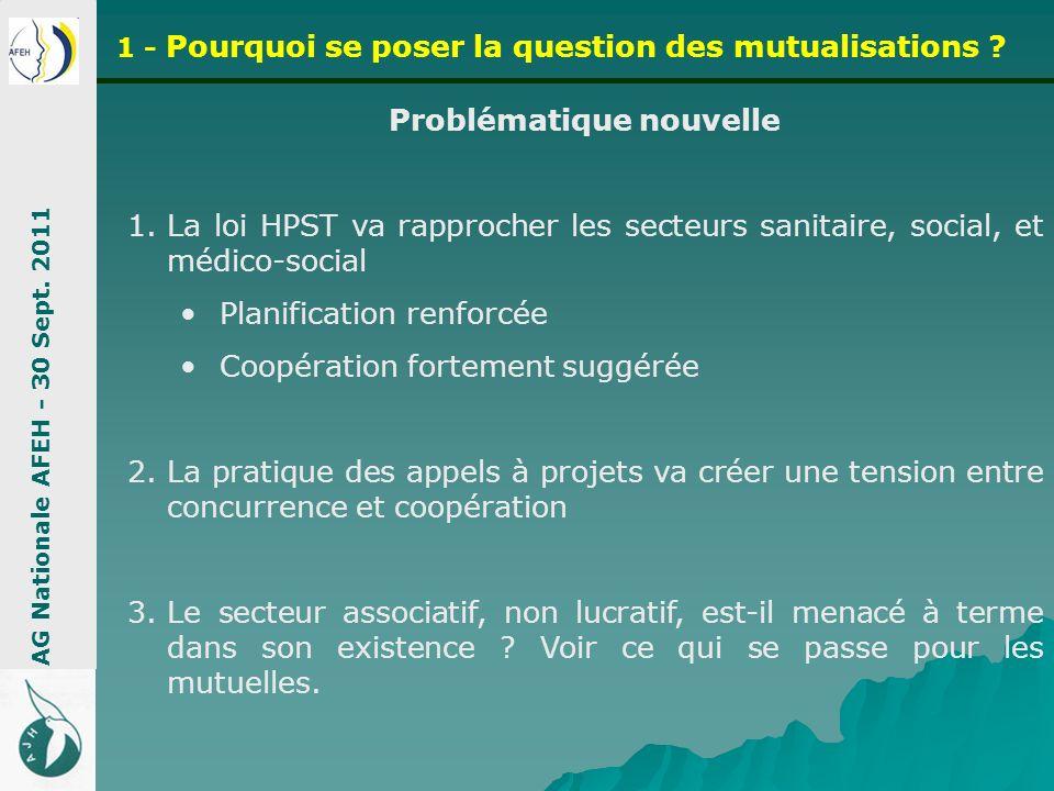 Problématique nouvelle 1.La loi HPST va rapprocher les secteurs sanitaire, social, et médico-social Planification renforcée Coopération fortement sugg