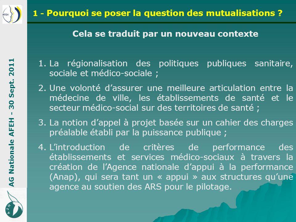 Cela se traduit par un nouveau contexte 1.La régionalisation des politiques publiques sanitaire, sociale et médico-sociale ; 2.Une volonté dassurer un