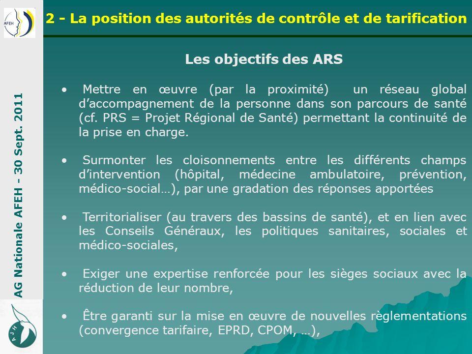 La Stratégie des ARS Cycle de santé avec sectorisation AG Nationale AFEH - 30 Sept.