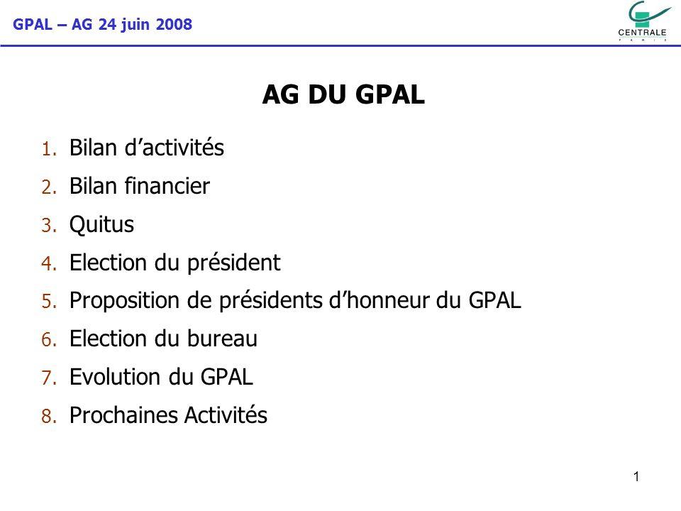 GPAL – AG 24 juin 2008 1 AG DU GPAL 1. Bilan dactivités 2. Bilan financier 3. Quitus 4. Election du président 5. Proposition de présidents dhonneur du