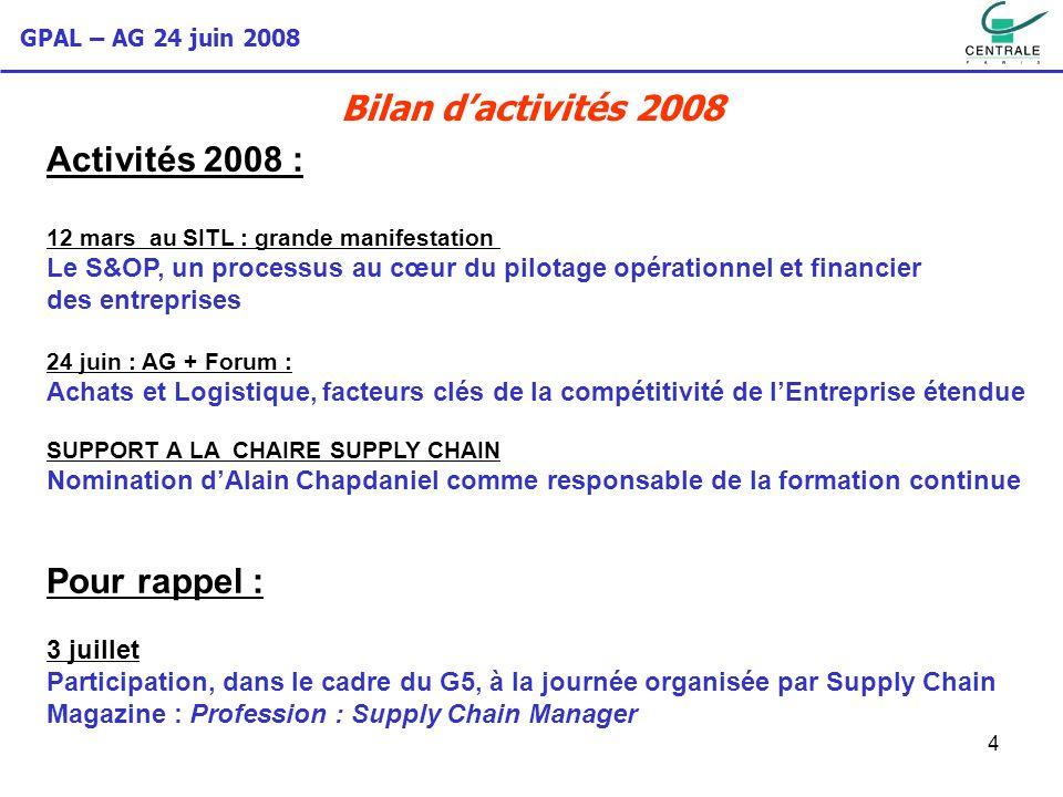 GPAL – AG 24 juin 2008 4 Activités 2008 : 12 mars au SITL : grande manifestation Le S&OP, un processus au cœur du pilotage opérationnel et financier d