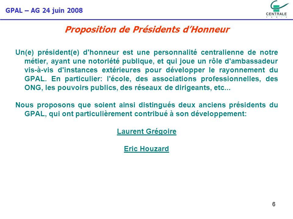 GPAL – AG 24 juin 2008 6 Proposition de Présidents dHonneur Un(e) président(e) d'honneur est une personnalité centralienne de notre métier, ayant une