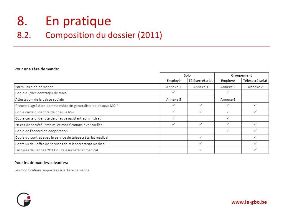 www.le-gbo.be 8. En pratique 8.2. Composition du dossier (2011) Pour une 1ère demande: SoloGroupement EmployéTélésecrétariatEmployéTélésecrétariat For