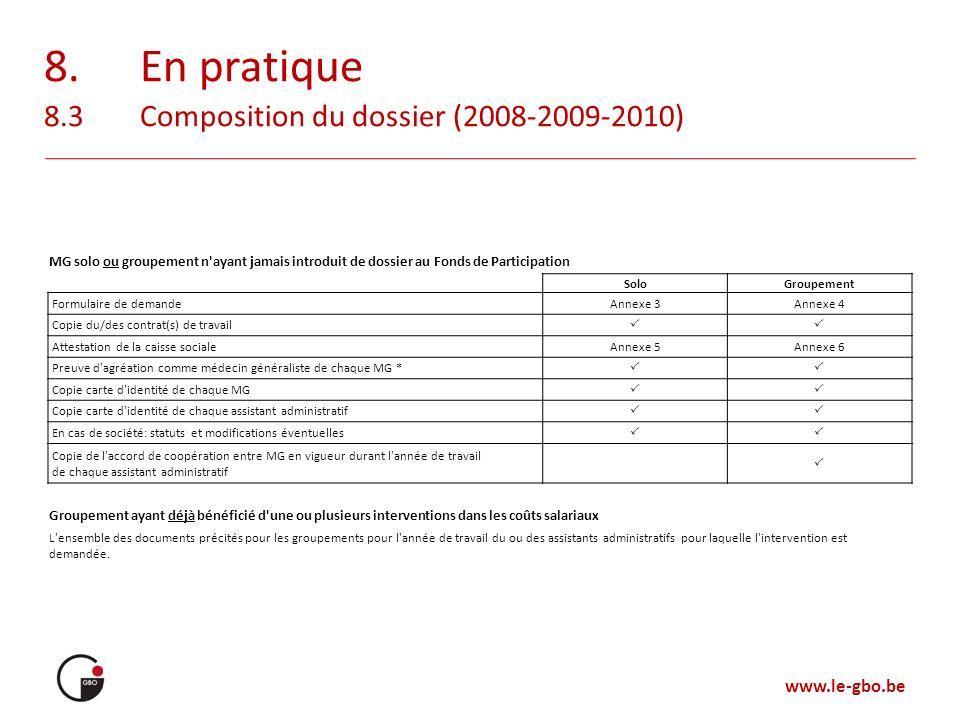 www.le-gbo.be 8.En pratique 8.3Composition du dossier (2008-2009-2010) MG solo ou groupement n'ayant jamais introduit de dossier au Fonds de Participa