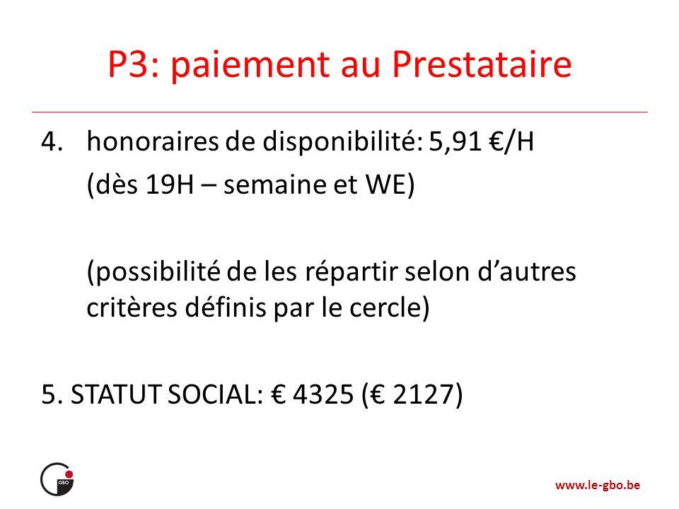 www.le-gbo.be P3: paiement au Prestataire 4.honoraires de disponibilité: 5,91 /H (dès 19H – semaine et WE) (possibilité de les répartir selon dautres