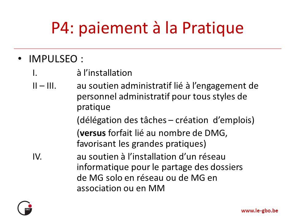www.le-gbo.be P4: paiement à la Pratique IMPULSEO : I.à linstallation II – III.au soutien administratif lié à lengagement de personnel administratif p
