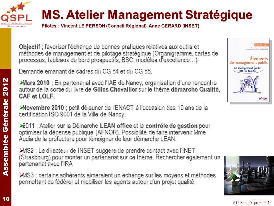 Assemblée Générale 2012 V1.03 du 27 juillet 2012 10 Objectif ; favoriser léchange de bonnes pratiques relatives aux outils et méthodes de management e