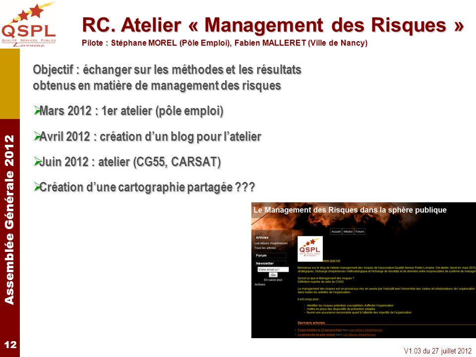 Assemblée Générale 2012 V1.03 du 27 juillet 2012 12 Objectif : échanger sur les méthodes et les résultats obtenus en matière de management des risques