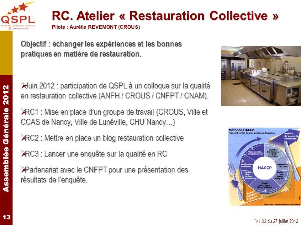 Assemblée Générale 2012 V1.03 du 27 juillet 2012 13 Objectif : échanger les expériences et les bonnes pratiques en matière de restauration. Juin 2012