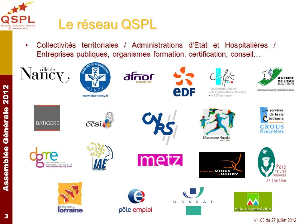 Assemblée Générale 2012 V1.03 du 27 juillet 2012 3 Le réseau QSPL Collectivités territoriales / Administrations dEtat et Hospitalières / Entreprises p