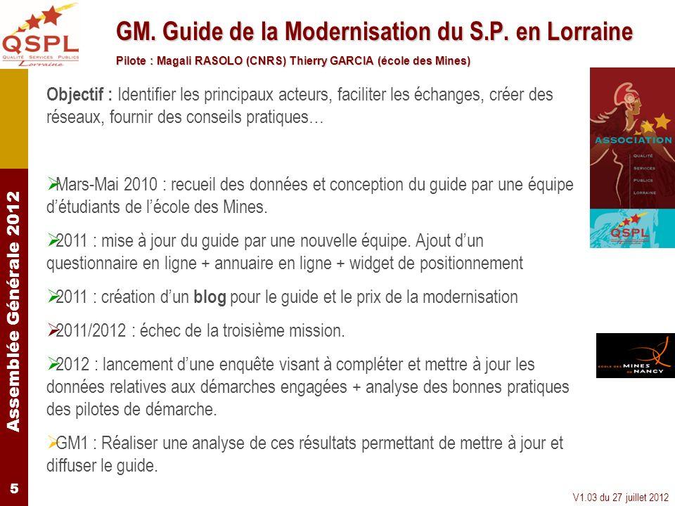 Assemblée Générale 2012 V1.03 du 27 juillet 2012 5 GM. Guide de la Modernisation du S.P. en Lorraine Pilote : Magali RASOLO (CNRS) Thierry GARCIA (éco