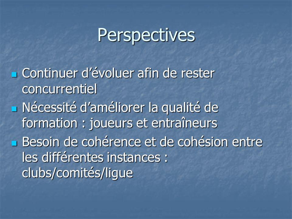 Perspectives Continuer dévoluer afin de rester concurrentiel Continuer dévoluer afin de rester concurrentiel Nécessité daméliorer la qualité de format