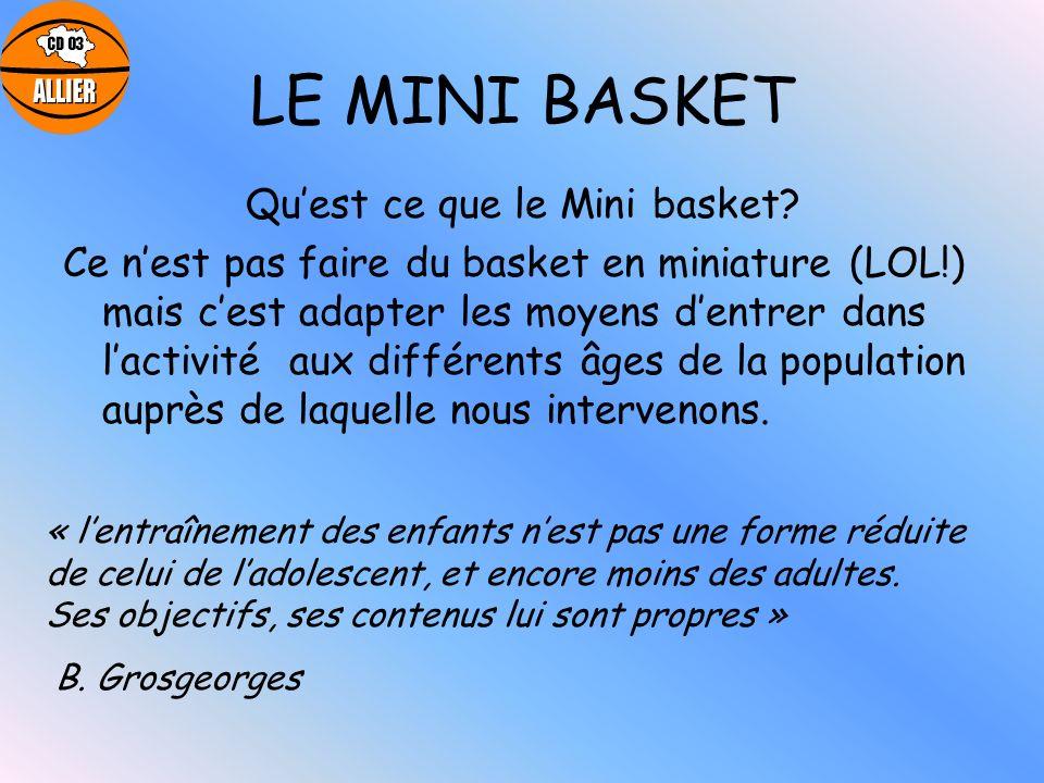 LE MINI BASKET Quest ce que le Mini basket? Ce nest pas faire du basket en miniature (LOL!) mais cest adapter les moyens dentrer dans lactivité aux di