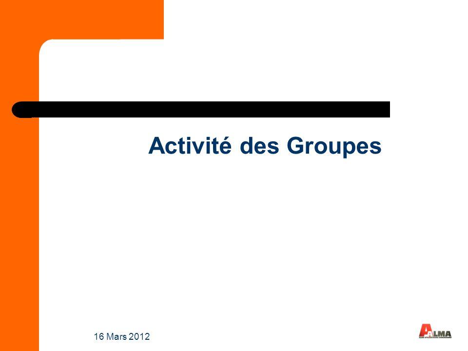 Activité des Groupes 16 Mars 2012