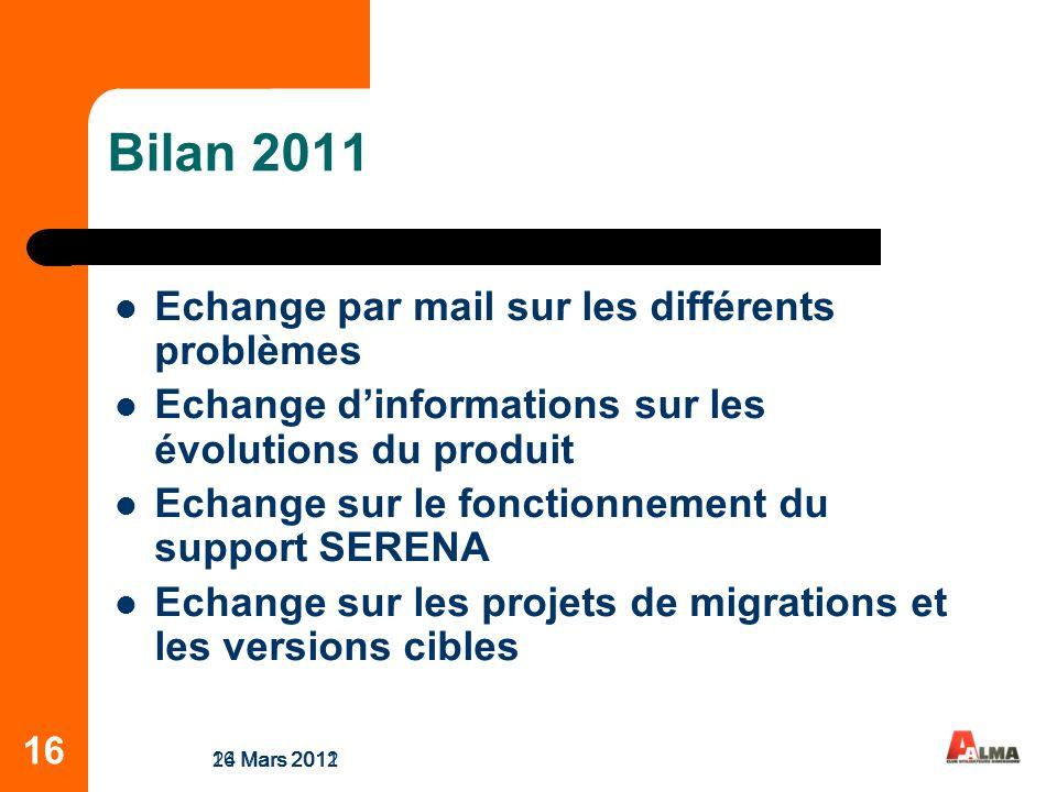 16 Bilan 2011 Echange par mail sur les différents problèmes Echange dinformations sur les évolutions du produit Echange sur le fonctionnement du support SERENA Echange sur les projets de migrations et les versions cibles 24 Mars 201116 Mars 2012