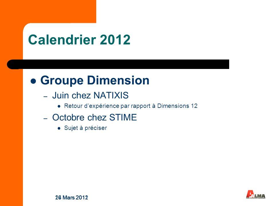 Calendrier 2012 Groupe Dimension – Juin chez NATIXIS Retour dexpérience par rapport à Dimensions 12 – Octobre chez STIME Sujet à préciser 24 Mars 201116 Mars 2012