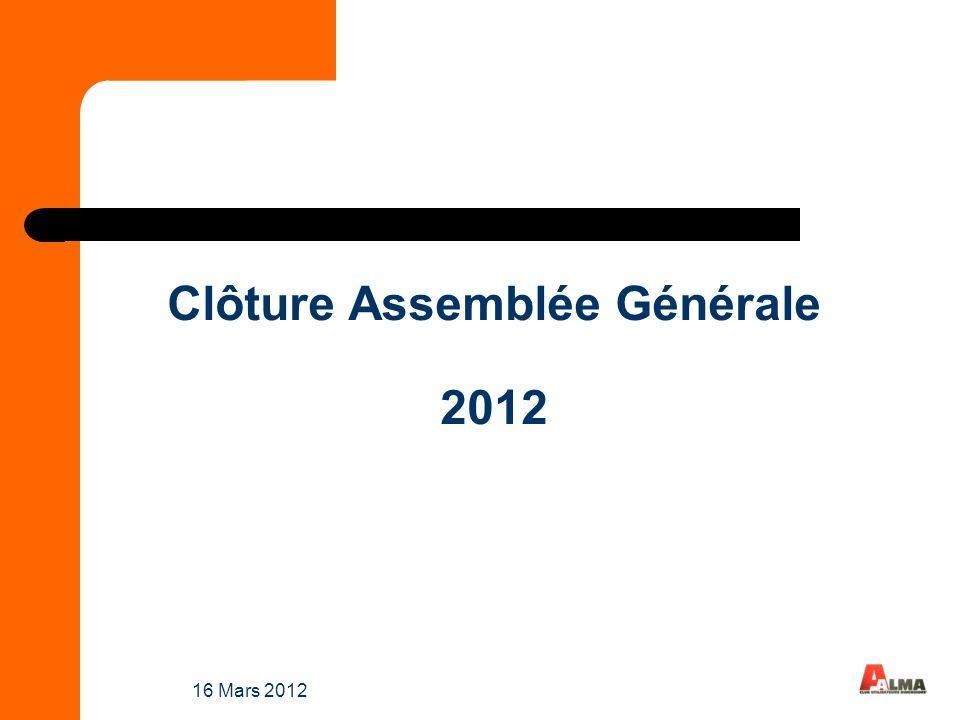 16 Mars 2012 Clôture Assemblée Générale 2012