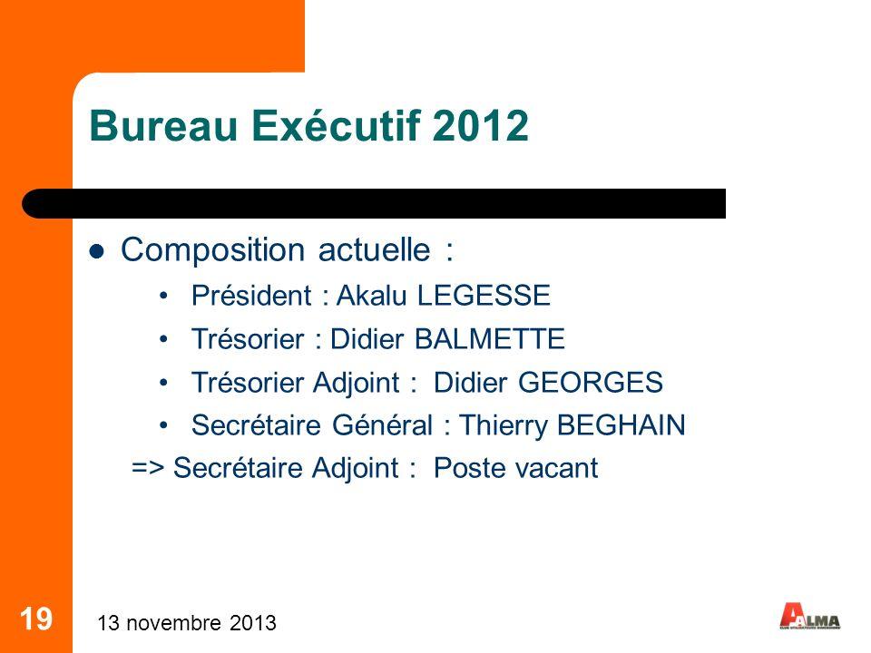 19 Bureau Exécutif 2012 Composition actuelle : Président : Akalu LEGESSE Trésorier : Didier BALMETTE Trésorier Adjoint : Didier GEORGES Secrétaire Gén