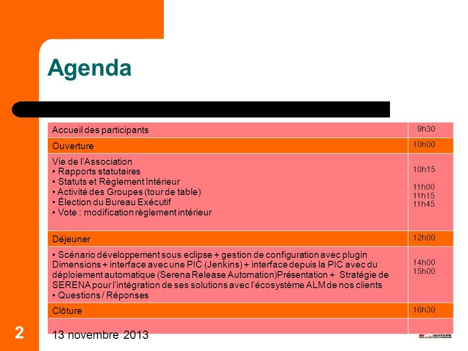 2 Agenda Accueil des participants 9h30 Ouverture 10h00 Vie de lAssociation Rapports statutaires Statuts et Règlement Intérieur Activité des Groupes (t