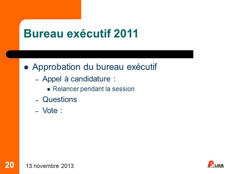 20 Bureau exécutif 2011 Approbation du bureau exécutif – Appel à candidature : Relancer pendant la session – Questions – Vote : 13 novembre 2013