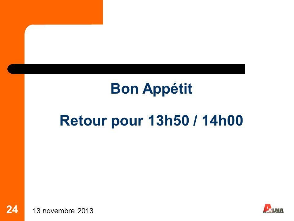24 Bon Appétit Retour pour 13h50 / 14h00 13 novembre 2013