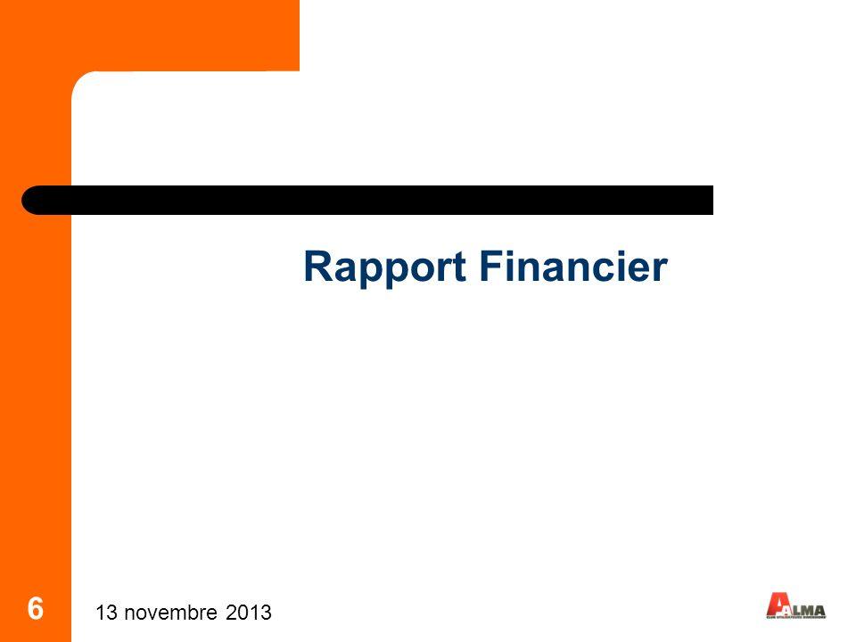 7 Cotisations 2013 Rappels : En AG de lannée n, on décide des cotisations de lannée n+1 Les cotisations sappliquent à lannée civile Nous proposons pour 2013 la reconduction des cotisations 2012 : 500 pour les Sociétés 50% pour les Travailleurs Indépendants Vote 13 novembre 2013