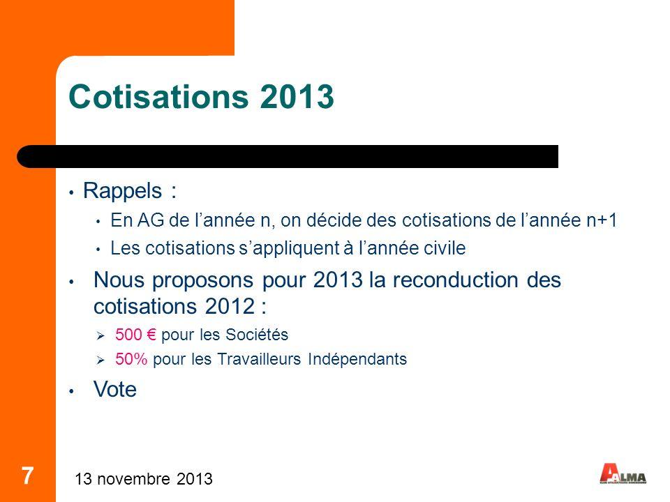 7 Cotisations 2013 Rappels : En AG de lannée n, on décide des cotisations de lannée n+1 Les cotisations sappliquent à lannée civile Nous proposons pou