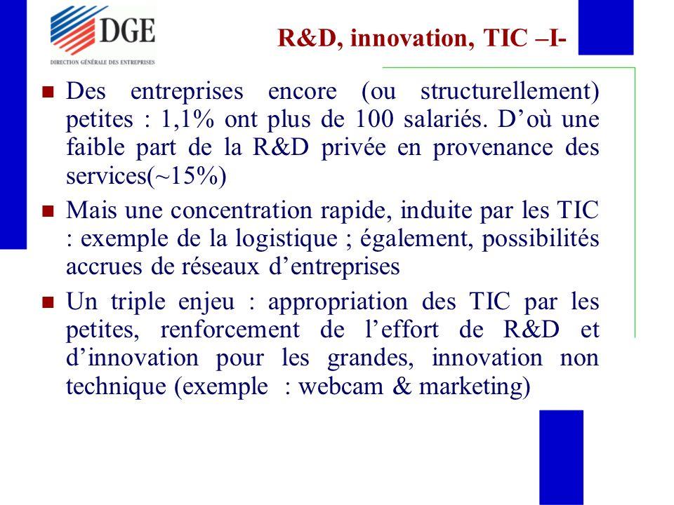 R&D, innovation, TIC –I- Des entreprises encore (ou structurellement) petites : 1,1% ont plus de 100 salariés.