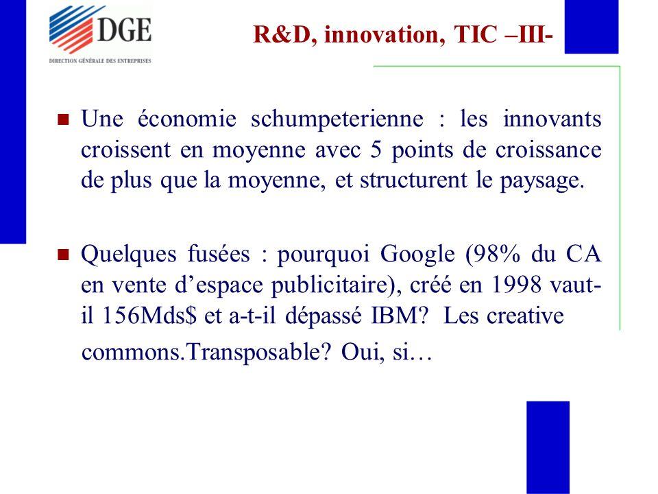 R&D, innovation, TIC –III- Une économie schumpeterienne : les innovants croissent en moyenne avec 5 points de croissance de plus que la moyenne, et structurent le paysage.