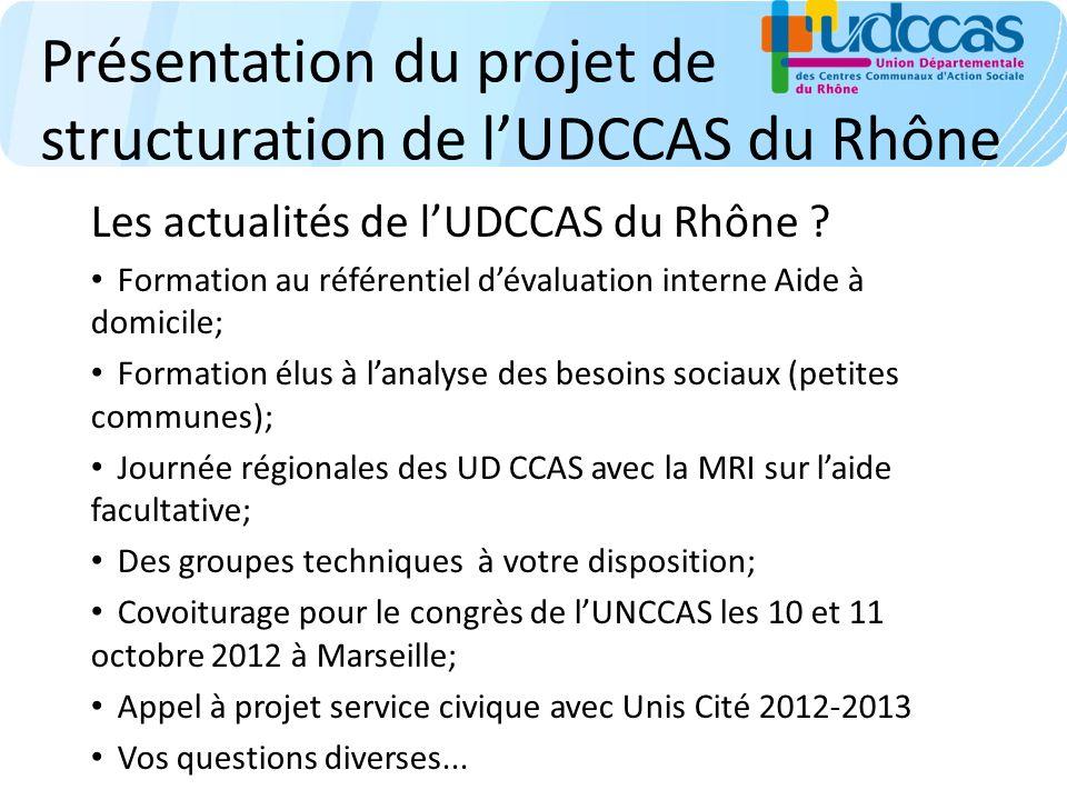 Présentation du projet de structuration de lUDCCAS du Rhône Les actualités de lUDCCAS du Rhône ? Formation au référentiel dévaluation interne Aide à d