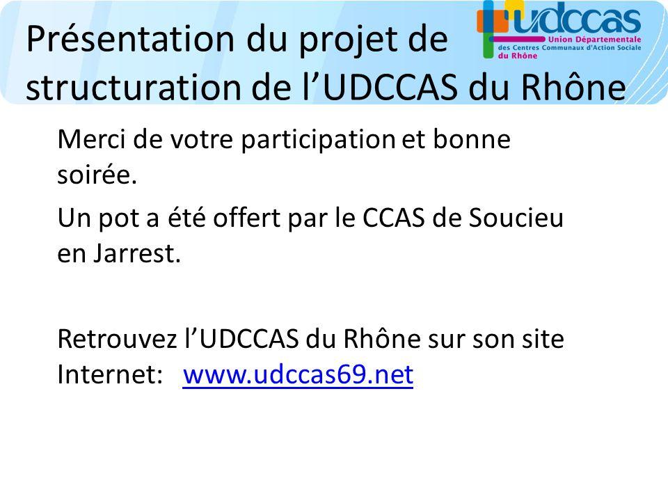 Présentation du projet de structuration de lUDCCAS du Rhône Merci de votre participation et bonne soirée. Un pot a été offert par le CCAS de Soucieu e