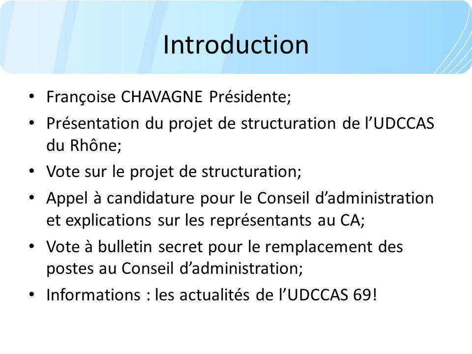 Introduction Françoise CHAVAGNE Présidente; Présentation du projet de structuration de lUDCCAS du Rhône; Vote sur le projet de structuration; Appel à