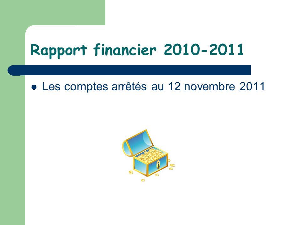 Rapport financier 2010-2011 Les comptes arrêtés au 12 novembre 2011