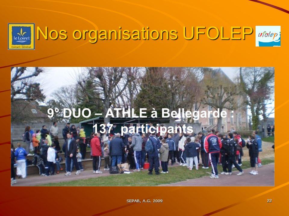 SEPAB, A.G. 2009 21 Nos organisations UFOLEP 7° DUO – VETATHLON 24 duos 48 participants : record !