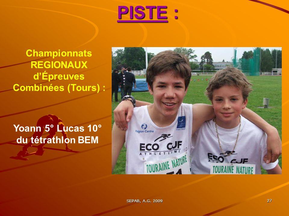 SEPAB, A.G. 2009 26 PISTE : Championnats du Loiret BE et MI (1ère journée) : 7 Sépabistes à Gien INTERCLUBS FFA (1er tour) à Blois, 03 Mai : LECO-CJF