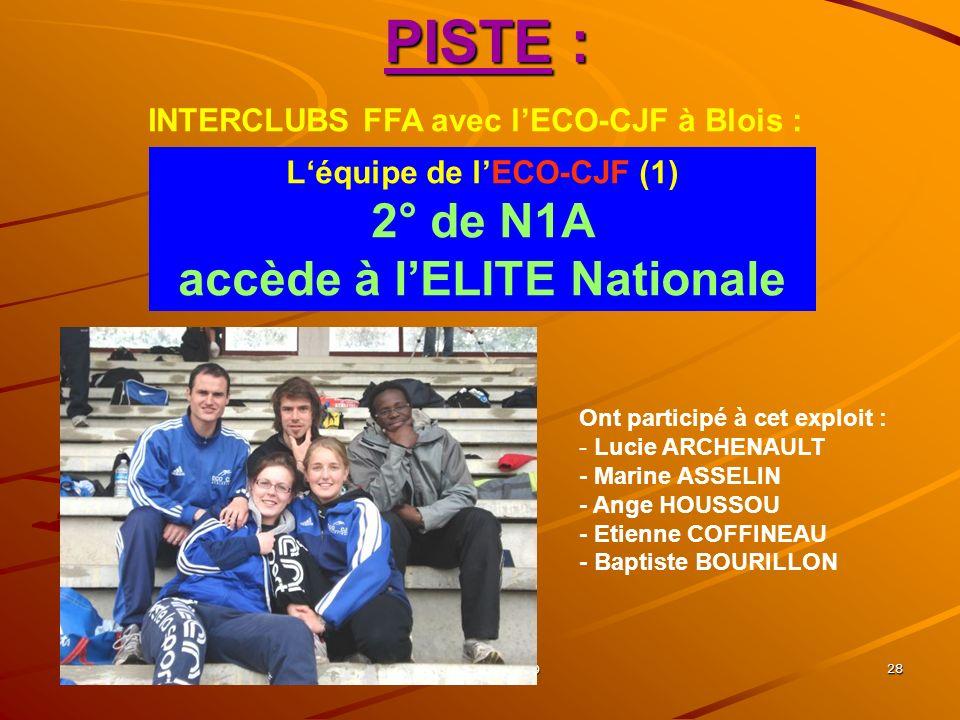 SEPAB, A.G. 2009 27 PISTE : Championnats REGIONAUX dÉpreuves Combinées (Tours) : Yoann 5° Lucas 10° du tétrathlon BEM