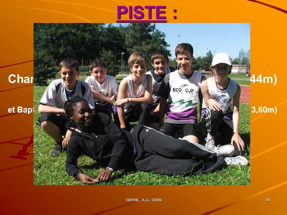 SEPAB, A.G. 2009 29 PISTE : > Championnats du Loiret BE, MI, 2° journée, La Source, 30 mai : Yoann DUBOIS Champion du Loiret du triathlon BEM > Champi
