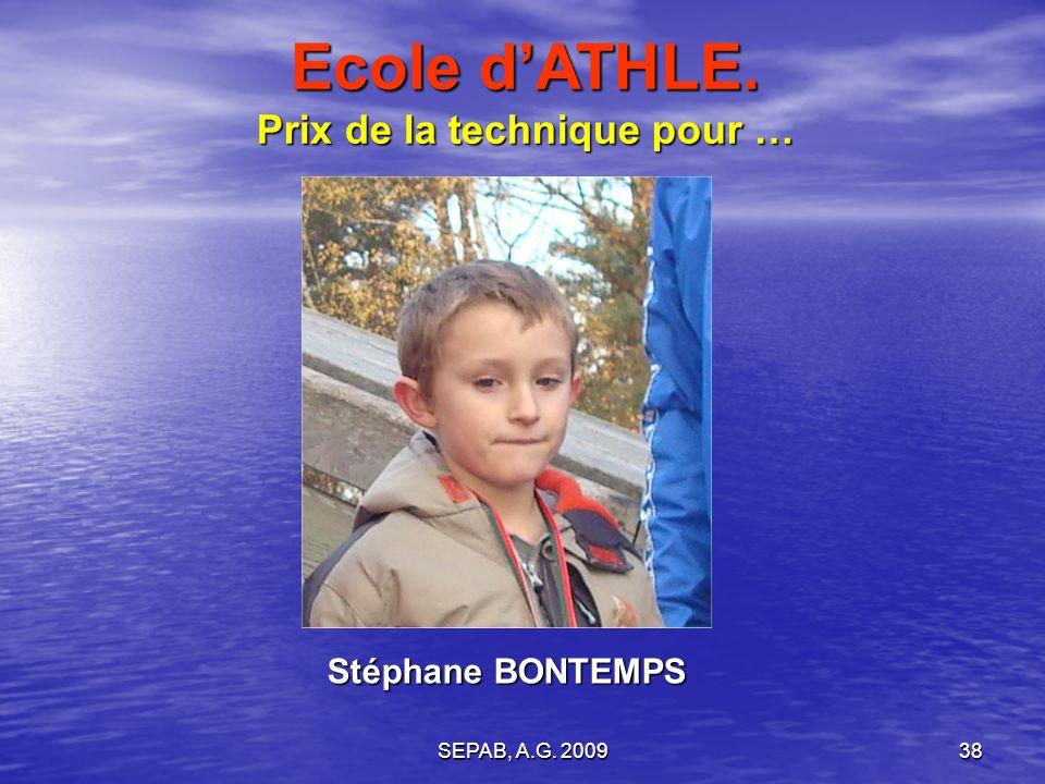 SEPAB, A.G. 200937 Augustin COUTANT Ecole dATHLE. Prix de lhumour pour …