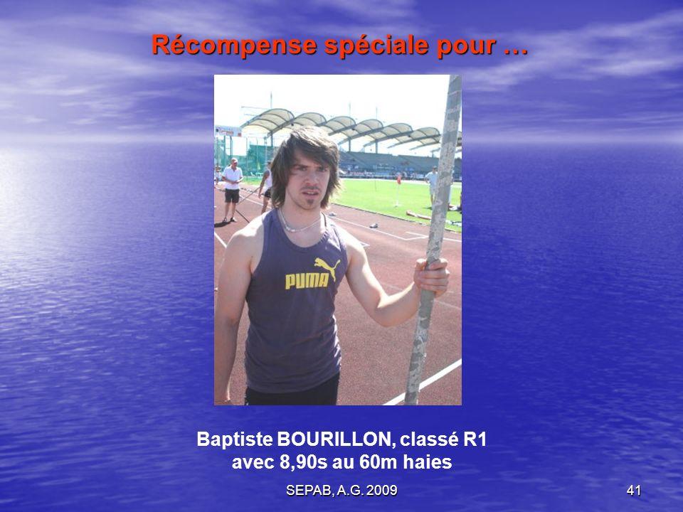 SEPAB, A.G. 200940 Céléna DELATTE Ecole dATHLE. Prix de lassiduité pour …