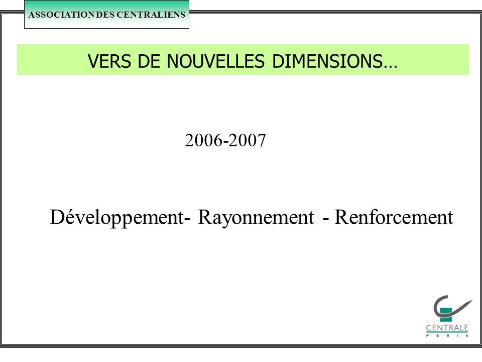 ASSOCIATION DES CENTRALIENS VERS DE NOUVELLES DIMENSIONS… 2006-2007 Développement- Rayonnement - Renforcement