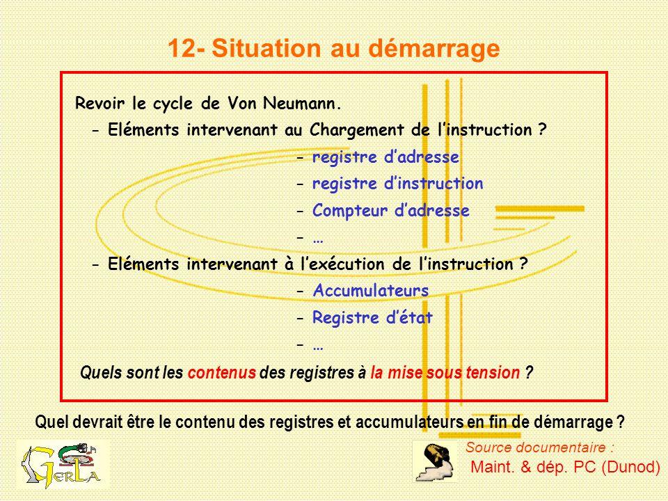12- Situation au démarrage Quel devrait être le contenu des registres et accumulateurs en fin de démarrage ? Revoir le cycle de Von Neumann. - Elément