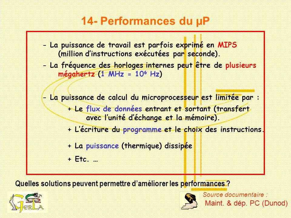 14- Performances du µP Quelles solutions peuvent permettre daméliorer les performances ? - La puissance de travail est parfois exprimé en MIPS (millio