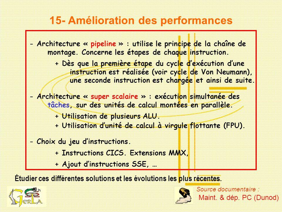 15- Amélioration des performances Étudier ces différentes solutions et les évolutions les plus récentes. - Architecture « pipeline » : utilise le prin