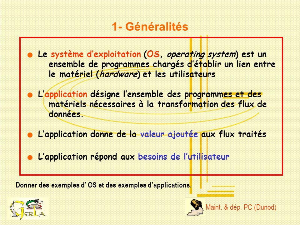1- Généralités Donner des exemples d OS et des exemples dapplications. Le système dexploitation (OS, operating system) est un ensemble de programmes c