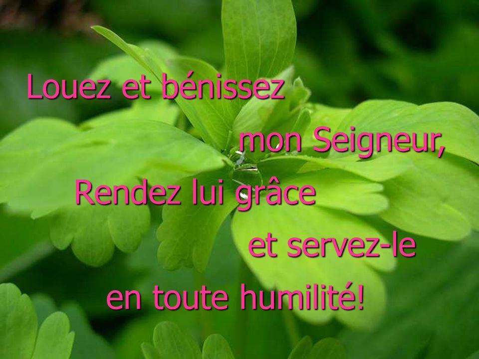 Louez et bénissez mon Seigneur, Rendez lui grâce et servez-le en toute humilité!