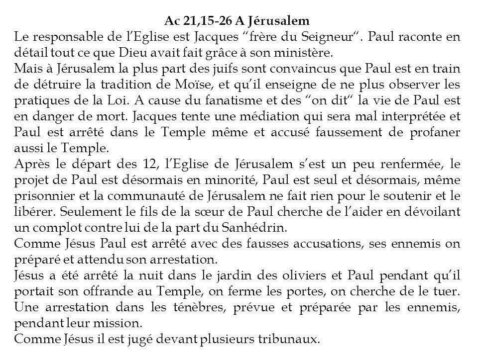 Ac 21,15-26 A Jérusalem Le responsable de lEglise est Jacques frère du Seigneur. Paul raconte en détail tout ce que Dieu avait fait grâce à son minist