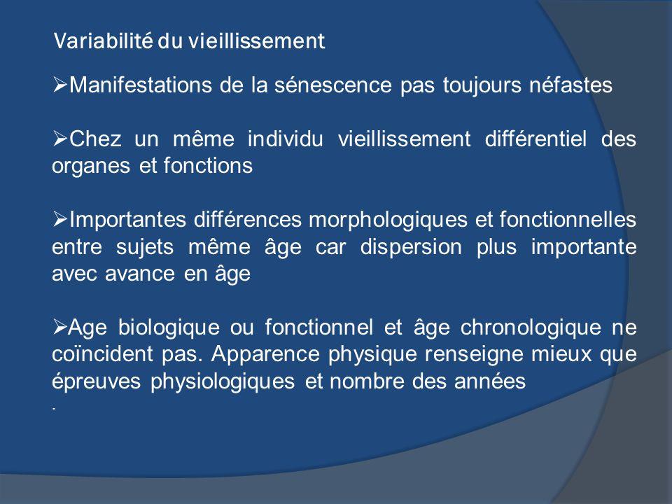 Variabilité du vieillissement Manifestations de la sénescence pas toujours néfastes Chez un même individu vieillissement différentiel des organes et f